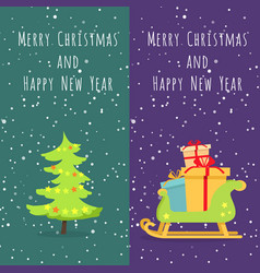 merry christmas and happy new year set of icons vector image vector image