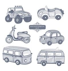 Retro cars icons set vector image