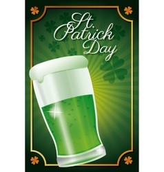 st patrick day glass beer celebration traditional vector image