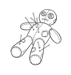 voodoo doll coloring book vector image vector image