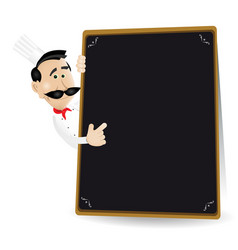 Chef menu holding a blackboard showing todays vector