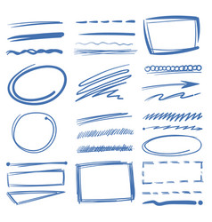 doodle highlighter elements sketch circles vector image vector image