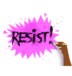 Female hand drawing resist lettering vector