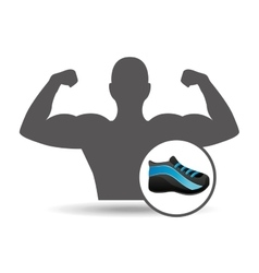fitness silhouette sneaker gym graphic vector image