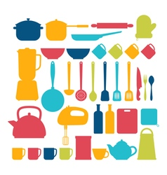 Kitchen appliances Cooking tools and kitchenware vector image vector image
