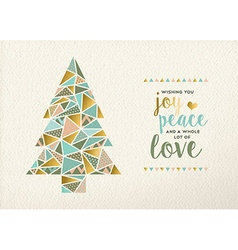 Merry christmas new year triangle tree gold retro vector image vector image