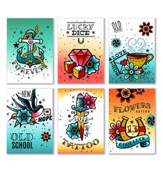 old school tattoo cards set vector image
