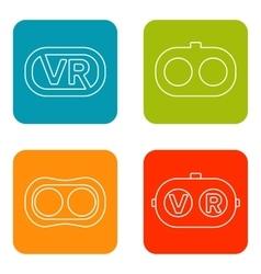 Set icons of virtual reality vector image vector image
