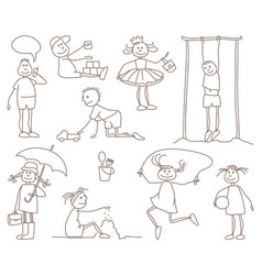 sketches of children vector image