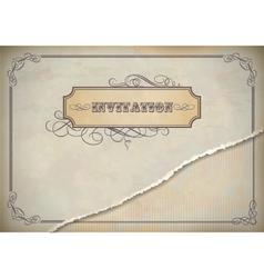 Vintage invitation design with label text frame vector