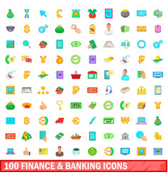100 finance and banking icons set cartoon style vector