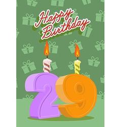 29 year Happy Birthday Card vector