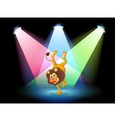 A lion performing in the middle of the stage vector image