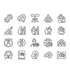 ai engineer line icon set vector image