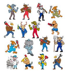 Animal worker tradesman mascot set vector
