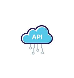 Api cloud integration icon data process flat vector