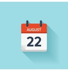 August 22 flat daily calendar icon Date vector image