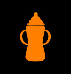 baby bottle sign orange icon on black background vector image