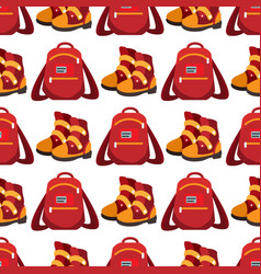 backpack and boots seamless pattern vector image