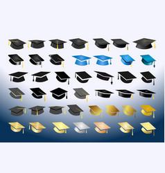 Big set various academic hats vector