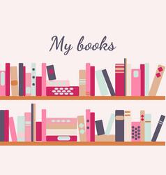 Bookshelves with retro style books vector