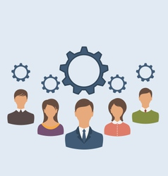 Business people with cogwheels business teamwork vector
