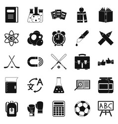 Campus icons set simple style vector