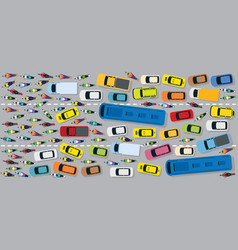 Cars on road with traffic jam chaotic vector