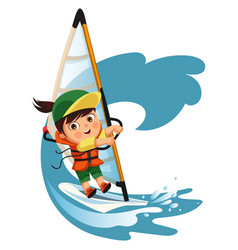 Cartoon boy waving hello and sailing in sea vector
