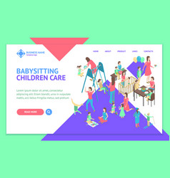 Characters different nanny concept landing web vector