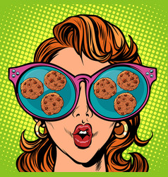 chocolate chip cookies woman reflection in vector image