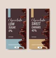 Chocolate packing design with liquid vector