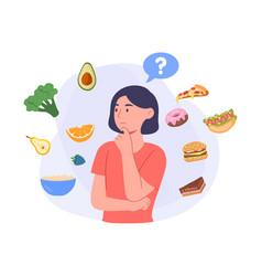 choosing type food concept vector image