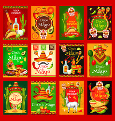 Cinco de mayo mexican holiday posters vector