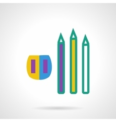 Color pencils and sharpener flat icon vector image