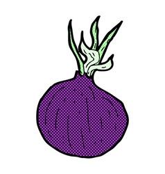 Comic cartoon red onion vector