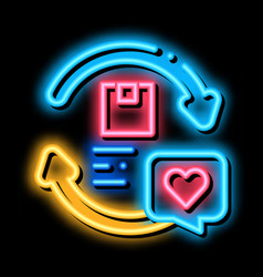 Company and client circular relationship neon glow vector