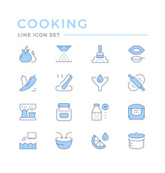 Cooking related set color line icons vector