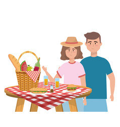 couple woman and man having picnic design vector image