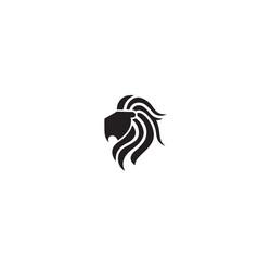 Creative black lion head logo symbol vector