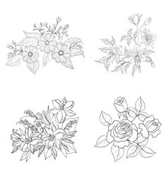 Cultivated flowers outline set vector