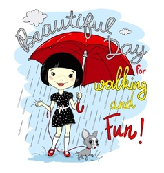 cute spring girl with umbrella vector image