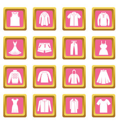 different clothes icons pink vector image