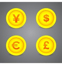 Dollar Euro Pound and Yen currency signs vector image