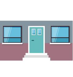 exterior building with door and window vector image