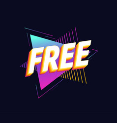 Free charge on triangles background 90s retro vector