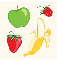 Fruit set Banana strawberry apple vector