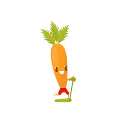 funny carrot running on a treadmill sportive vector image