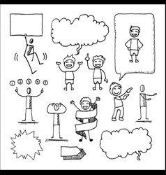 Funny people and speech bubbles vector