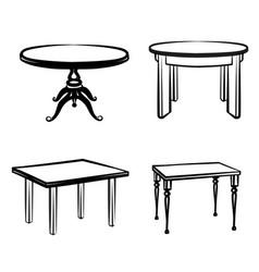 Furniture set interior doodle furnishing tables vector
